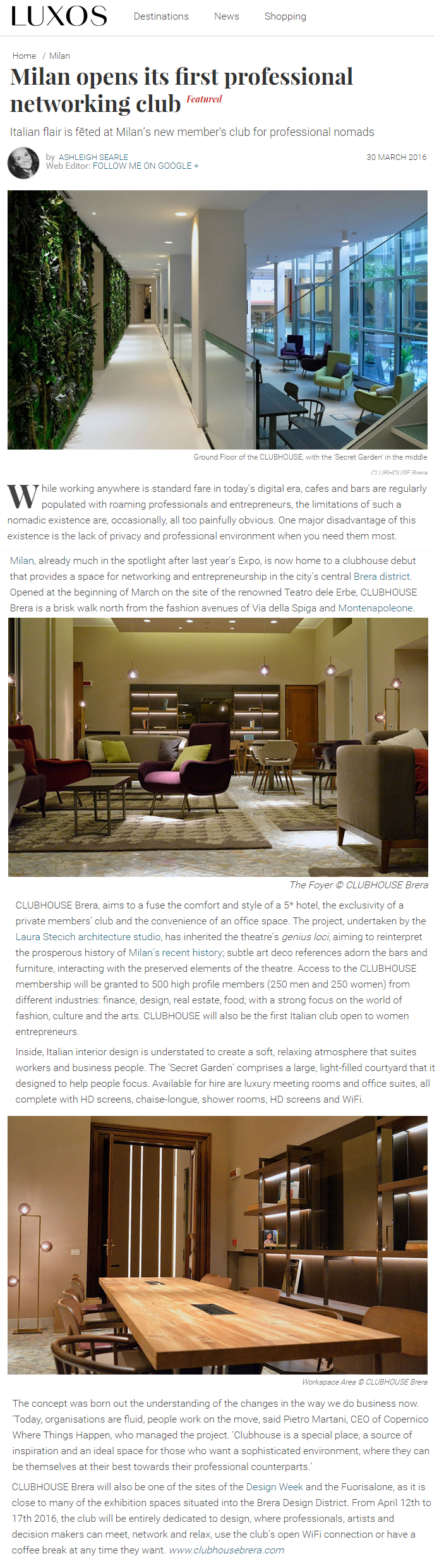 Luxos about Clubhouse Brera